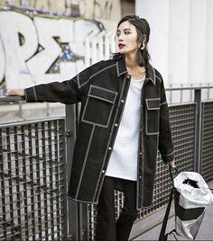New Fashion Women Jacket Casual Slim Denim Long Jaqueta Ladies Coat Casaso Fenimino Jeans Full Sleeve Korea Style Black AW360