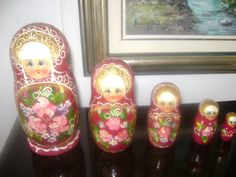 Russian nesting dolls Matryoshka Russian wooden dolls by Mpoulitsa Wooden Dolls, Handmade Items, Handmade Gifts, Vintage Antiques, I Am Awesome, My Etsy Shop, Take That, Trending Outfits, Unique Jewelry