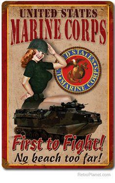 Marine Corp Pin-Up Girl Sign