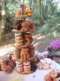 rustic doughnut tower