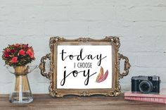 A simple reminder to choose joy.  Dimensions: 8 x 10.  ---THIS IS AN INSTANT DOWNLOAD, YOU WILL NOT BE RECEIVING A PHYSICAL ITEM.---  But you will receive a link immediately after purchase to get you item INSTANTLY! How awesome is that?! Plus, that means no shipping costs for you! ;)  You will receive both the JPEG printable file in high resolution (300 DPI), which will give you very clear and clean prints, and the PDF as well.  You will receive a link to download soon after purchasing this…
