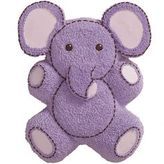 Turn a Teddy Bear Pan cake into an endearing elephant. We provide the patterns for creating cookie ears and trunk and instructions for using piped icing to fashion stuffed-animal fur and stitching.
