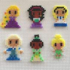 Disney Princess (Rapunzel, Megara, Alice, Elsa, Tiana and Tinker Bell) perler beads by bertine.klapwijk