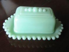Vintage Jadeite Jadite Covered Butter Dish Hobnail Design RARE Style Collectible | eBay