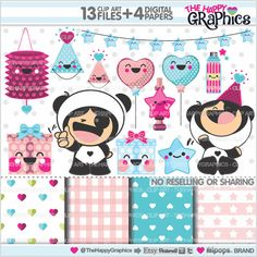Party Clipart, Party Graphics, COMMERCIAL USE, Kawaii Clipart, Planner Accessories, Celebration Clipart, Panda Graphic, Panda Clipart, Panda