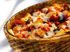 Pastaform med aubergine og paprika