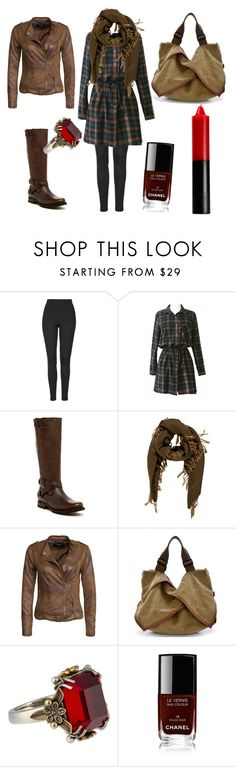 """my version of Dean Winchester"" by oakenleaves ❤ liked on Polyvore featuring Topshop, Frye, Giorgio Armani, VILA, Alexander McQueen and Chanel"