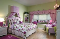 green and purple girls room   Purple and pink color tones in interior of a girlroom - Modern ...