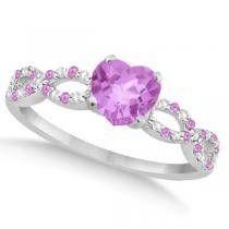 Diamond & Pink Sapphire Heart Infinity Engagement W Gold Women's, Size: White Gold Sapphire Diamond Engagement, Pink Sapphire Ring, Sapphire Jewelry, Pink Ring, Birthstone Jewelry, Pink Jewelry, Cute Jewelry, Heart Engagement Rings, Infinity Heart