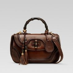 Gucci 'new bamboo' large top handle bag in dark brown hand-stained leather Stylish Handbags, Cheap Handbags, Handbags Online, Purses And Handbags, Fashion Handbags, Gucci Purses, Burberry Handbags, Louis Vuitton Handbags, Gucci Gucci