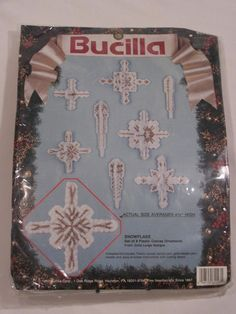 BUCILLA Plastic Canvas CHRISTMAS SNOWFLAKE ORNAMENTS KIT 1991 Unopened Complete #Bucilla