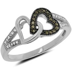 0.14 Carat (ctw) 10k Gold Brown Diamond Round Double Heart Ladies Interlocking Ring Fashion Band 1/7 CT - White-gold, Size 10.5. 100% Satisfaction Guaranteed - Return or Exchange Any Item within 30 days. Free Standard Shipping on All Items. Genuine Natural Diamonds. 0.14 ct. tw. 10k Gold.