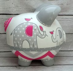 Pintada a mano artesanal cerámica alcancía por Alphadorable en Etsy