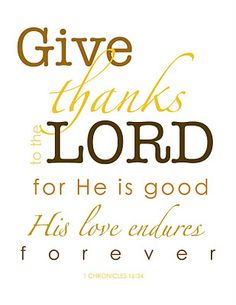 Thankful for His everlasting love: 1 Chronicles 16:34