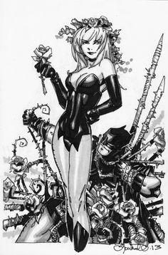 Poison Ivy over Batman, by Chris Bachalo