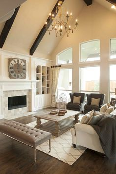 Warm Inviting Living Room by Shaddock Homes at Phillips Creek Ranch #ShaddockHomesTX #LivingRoom #WarmDecor #Neutrals