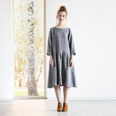 Etsy Linen - wool blend dress with sleeves and DROP SIDES / Washed and soft linen - wool dress in grey - ShopStyle Winter Outfits For Work, Cool Outfits, Linen Dresses, Dresses With Sleeves, Drop, Wool Dress, Wool Blend, High Neck Dress, Style Inspiration