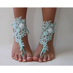 FREE SHİP Beach Wedding Barefoot Sandals,Mint Green Lace Shoes, Bridal... ($23) via Polyvore featuring shoes, sandals, sequin sandals, bridal shoes, mint sandals, embroidered shoes ve bridal sandals