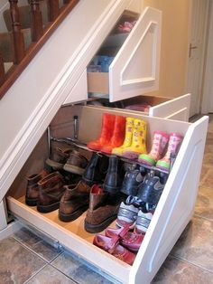Insanely Clever Remodeling Ideas For Your New Home Shoe storage. Under stairs storage idea. I need this so bad. Under stairs storage idea. I need this so bad. Home Remodeling, Home Renovation, Basement Renovations, Bathroom Remodeling, Home Organization, Organizing Shoes, Organizing Ideas, My Dream Home, Dream Job