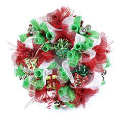 Christmas Deco Mesh Wreath - Deco Wreath - Holiday  Decor Door Wreath