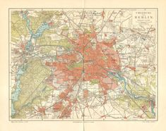 1905 Original Antique Map of Berlin and its Surroundings