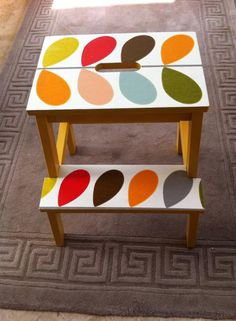 Orla Kiely Bekvam Ikea Furniture Hacks, Deco Furniture, Upcycled Furniture, Furniture Makeover, Painted Furniture, Ikea Step Stool, Ercol Chair, Ikea Bekvam, Idee Diy