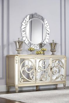Jessica McClintock Couture Buffet With Stone Top And Round Mirror In Silver Leaf - Homeclick Community
