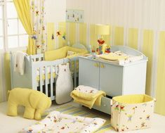 yellow and light blue room