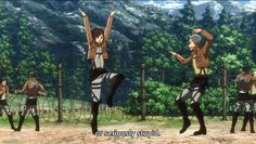 """Attack on Titan ~~ Can we all say, """"Homage to 'The Karate Kid'?"""" :: Sasha Braus and Connie Springer working on sparring in the most adorkable way. Attack On Titan Funny, Attack On Titan Ships, Attack On Titan Fanart, Armin, Mikasa, Manga Anime, Anime Gifs, Haikyuu, Aot Gifs"""