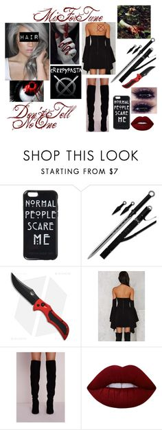 """""""Meeting the Creepypasta Family"""" by sweetrevenge-1 ❤ liked on Polyvore featuring Apex, Lime Crime, blood, creepy, horror and creepypasta"""