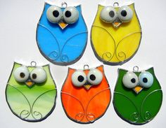 Cute Stained Glass Owl Ornaments | Shattered by Light