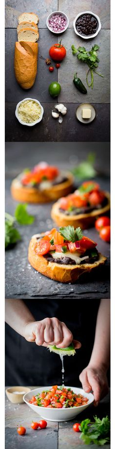 Mini Bean and Cheese Molletes - These little toasts are covered in refried beans, gooey cheese, and fresh pico de gallo.  A great addition to your holiday menu!