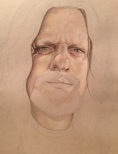 Colored pencil portrait, just started. By A.F. Turner