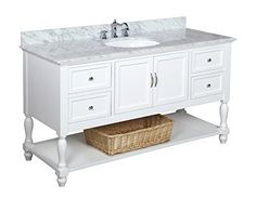 Beverly 60-inch Single Sink Bathroom Vanity (Carrara/White): Includes a White Cabinet with Soft Close Drawers, Authentic Italian Carrara Marble Countertop, and White Ceramic Sink Kitchen Bath Collection http://smile.amazon.com/dp/B0094HYXL2/ref=cm_sw_r_pi_dp_5yvnvb1DX47M2