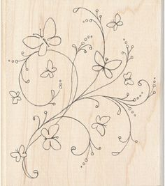 Inkadinkado Butterfly Flourish Wood Stamp for Arts and Crafts, W x L Embroidery 3d, Hand Embroidery Flowers, Hand Embroidery Patterns, Fabric Paint Designs, Wood Stamp, Scrapbook Paper Crafts, Fabric Painting, Flourish, Crochet