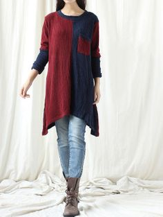 Autumn asymmetrical Long dress/ Patchwork bottoming by MaLieb, $79.00