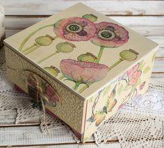 Купить шкатулка-комод РОЗОВЫЕ МАКИ - бледно-розовый, шкатулка, шкатулка для украшений