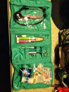 I am loving this use of our timeless beauty bag! Carry all your nurse necessities and still look totally cute!!
