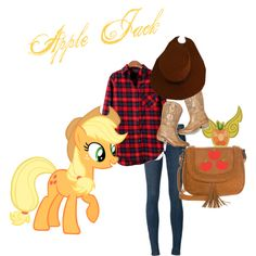 Apple Jack by kristenaviles on Polyvore featuring polyvore, fashion, style, J Brand, American Eagle Outfitters, even&odd and My Little Pony