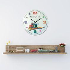 Detské nástenné hodiny v bielej farbe HAPPY TIME s vláčikom Clock, Wall, Home Decor, Watch, Decoration Home, Room Decor, Clocks, Walls, Home Interior Design