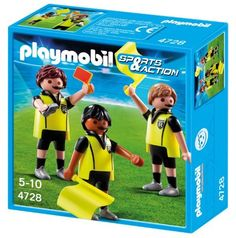 Playmobil 4728 Soccer Referees by Playmobil. $10.58. With Whistle, Flags and Yellow and Red Cards to warn the players.