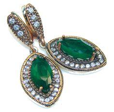 $49.25 Island Dream!! Green Emerald Sterling Silver earrings at www.SilverRushStyle.com #earrings #handmade #jewelry #silver #emerald