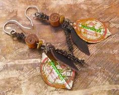 Recycled tin leave earrings by HenrietteWhite on Etsy, €15.00
