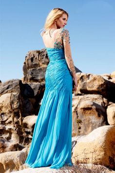 2014 Sexy Prom Dresses Sheath/Column One Sleeve Floor Length With Beads