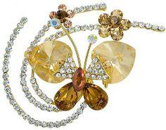 """Fluid Butterfly Swarovski Elements Crystal Brooch Pin (Yellow) Arco Iris Jewelry. $32.95. Width - 2"""". Fluid Butterfly Swarovski Crystal Pin (Yellow). High - 1-3/4"""""""