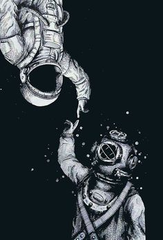 fondos 'Astronaut and Diver - Last Frontiers ' Poster by Astronaut Tattoo, Astronaut Drawing, Wallpaper Space, Galaxy Wallpaper, Iphone Wallpaper, Disney Wallpaper, Screen Wallpaper, Wallpaper Backgrounds, Space Drawings