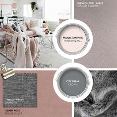 Monday Moodboard - For a touch of femininity without being too sweet, choose an understated shade of blush pink. Add modern accessories in white and grey to keep the look contemporary. Pink Sofa, Gray Sofa, Blush And Grey Living Room, Blush Pink And Grey Bedroom, Copper Living Room, Copper And Grey, Rose House, Grey Lounge, Grey Wallpaper