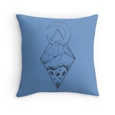 Geometric mountain in a diamonds with moon (tattoo style - black and white) by #Beatrizxe | #redbubble #throw #pillow Several mountains are enclosed in two overlapping diamonds or rhombs. A crescent moon escapes of the diamonds and it seems a optical illusion #Geometric  #illustration #mountain #diamond #rhomb #moon #optical #illusion #ink #tattoo #line #pointillism #design #sketch #doodle #minimal #minimalism #mountains #night #minimalist