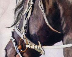 Friesian Horse Art black Print of my watercolor by rachelsstudio