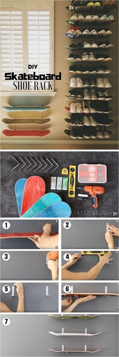 Check out how to build a DIY shoe rack from old skateboards Industry Standard De. - Check out how to build a DIY shoe rack from old skateboards Industry Standard Design - Diy Shoe Storage, Diy Shoe Rack, Shoe Racks, Storage Ideas, Diy Rack, Shelf Ideas, Bedroom Storage, Do It Yourself Furniture, Diy Furniture